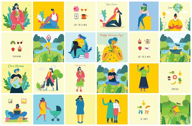 Concept of women unique background. stylish illustration card with happy female woman and hand drawing quote be unique