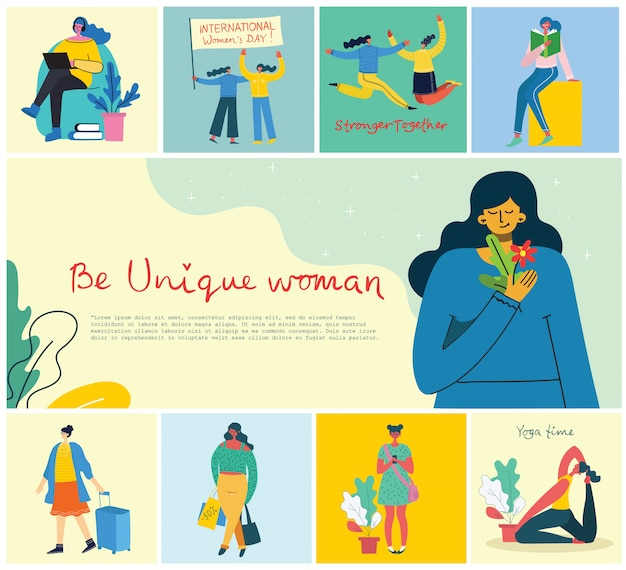 Concept of women unique background. stylish modern vector illustration card with happy female woman and hand drawing quote be unique