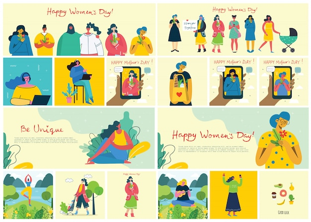Concept of women unique background. stylish modern vector illustration card with happy female woman