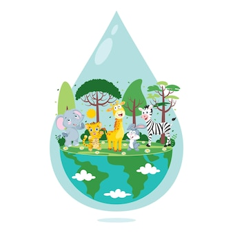 Concept of word water day