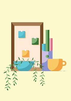 Concept of workplace call center or office with plant and cup isolated on yellow background