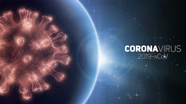Concept of worldwide coronavirus pandemia. warning of virus global outbreak. virus structure on a planet earth background with stars. international infectione.  illustration.