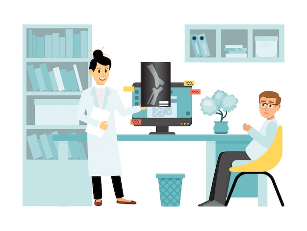 개념 x 선 여성 의사 문자 건강 진단 실, 흰색, 그림에 고립 된 의사 상담을받습니다.