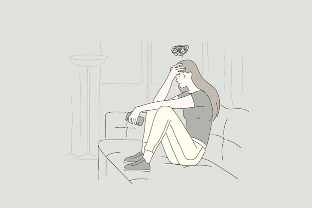 Concept of a young upset woman.