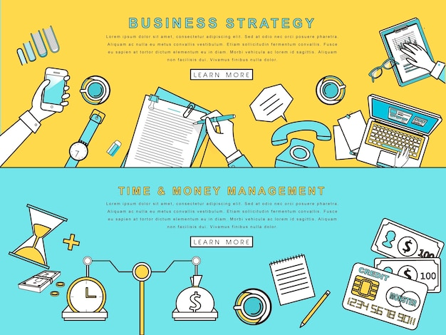 Concepts for business strategy and creative process in line style