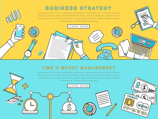 Концепции бизнес-стратегии и творческого процесса в стиле линии Premium векторы