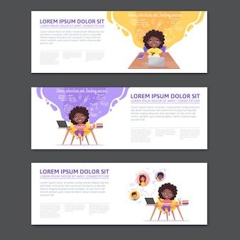 Webバナーとプロモーションのコンセプト。チュートリアル、学習プログラム、オンライン学習のためのフラットな漫画のデザイン。アフリカ系アメリカ人の女の子は、自宅からオンラインでテーブルスタディに座っています。