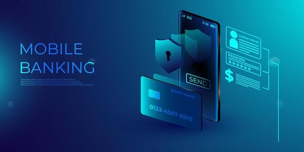 コンセプトモバイル決済、個人データ保護。スマートフォンと銀行カードを備えたウェブサイトのヘッダー