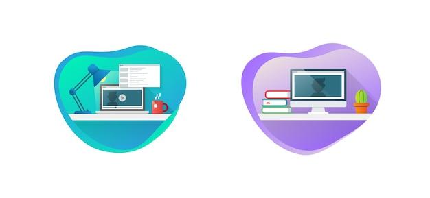 교육 및 온라인 학습의 개념입니다. 온라인 학습 과정, 원격 교육, e-러닝 튜토리얼