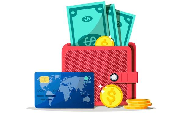 Понятия финансов. кошелек с деньгами, долларами и монетами, наличными, валютой, кредитной картой. концепция богатства.
