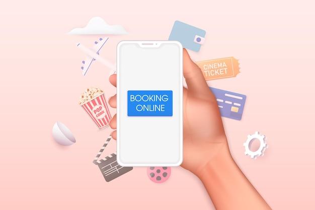 온라인 영화 티켓 예약의 개념 온라인 책 앱으로 모바일 스마트 폰을 들고 손