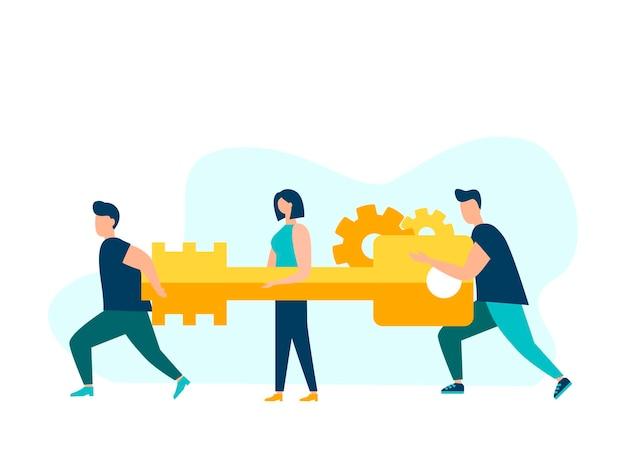 팀워크의 개념 사업가와 사업가는 핵심 아이디어를 가지고 문으로 간다