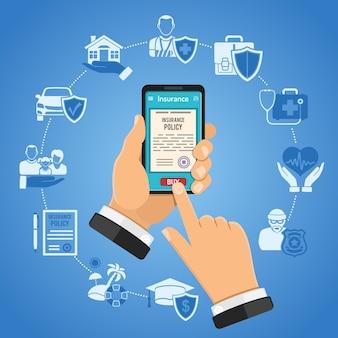 개념 온라인 보험 서비스. 스마트 폰을 손에 들고 보험을 사는 남자. 플랫 스타일 두 가지 색상 아이콘 자동차, 집, 의료, 교육 및 휴가. 외딴