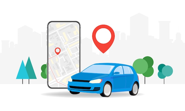 Concepts online ordering a taxi car using the mobile application service. smartphone screen on the background of the city with the location of the route and points on the map.   illustration