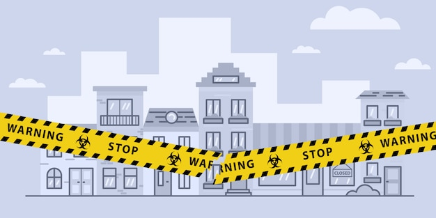Concepts of open lockdown after coronavirus pandemic outbreak. torn yellow tape over city. stock   illustration