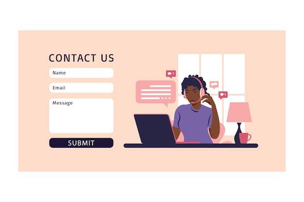 Concepts ourselves consulting, job online, remove job, call center. contact us form. for web. operator african girl with computer, headphones and microphone.