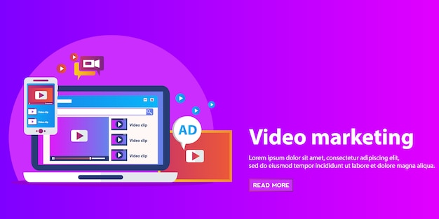 Concepts for video marketing, advertising, social media, web and mobile apps and services, e-commerce, seo.