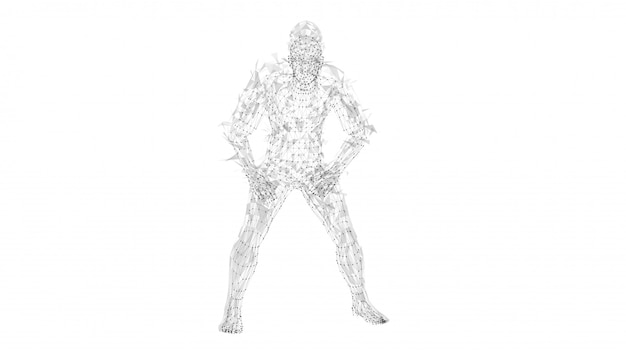 Conceptual abstract man. connected lines, dots, triangles, particles on white background.