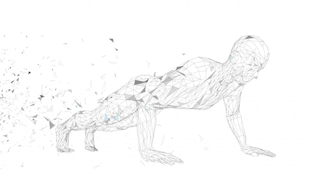 Conceptual abstract man doing push ups in gym