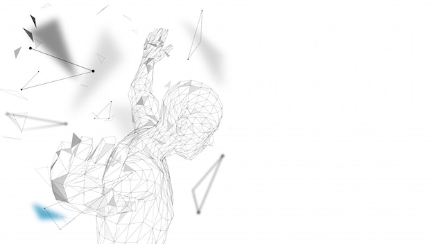Conceptual abstract man getting ready to jump illustration