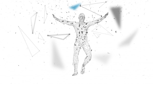 Conceptual abstract man in a jump