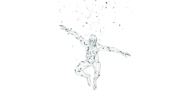Conceptual abstract man in a jump.