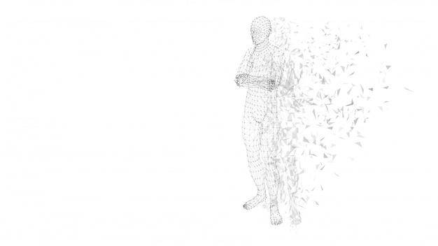 組んだ腕を持つ概念の抽象的な男。接続線、点、三角形。