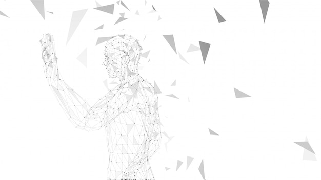 Conceptual abstract man with hand pointing up