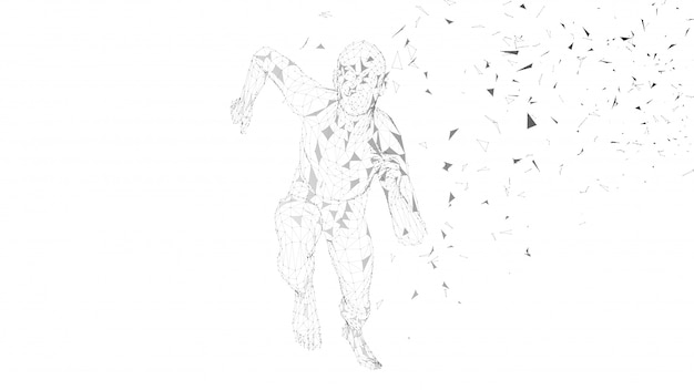 Концептуальные абстрактный бегущий человек. бегун со связанными линиями