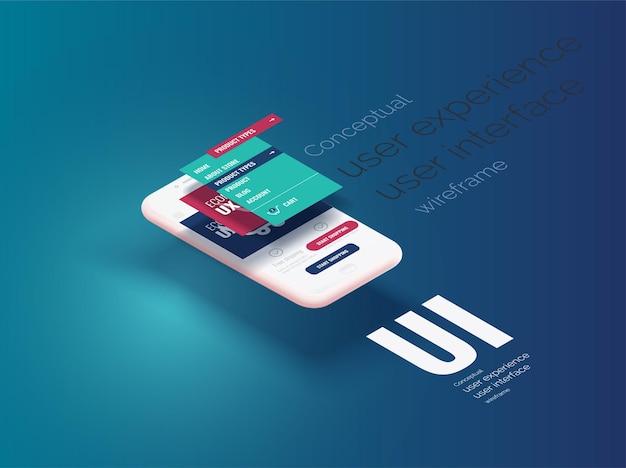 개념적 배너 소책자 브로셔 사용자 경험 사용자 인터페이스 웹 페이지 레이아웃이 있는 3d 전화 프레임 인터페이스 모바일 앱의 수직으로 분기된 레이어가 있는 모바일 인터페이스