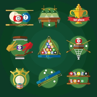 Conceptual billiards set in circles with attributes for pool game colored and isolated