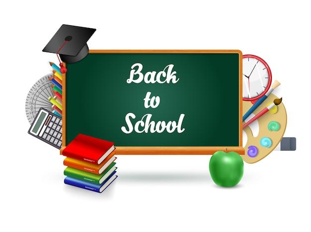 教育アイコンイラストと概念的な黒板チョークレタリング。学校に戻るインフォグラフィックの概念。本、パレット、卒業キャップ、絵筆、リンゴ、電卓、時計のオブジェクト。