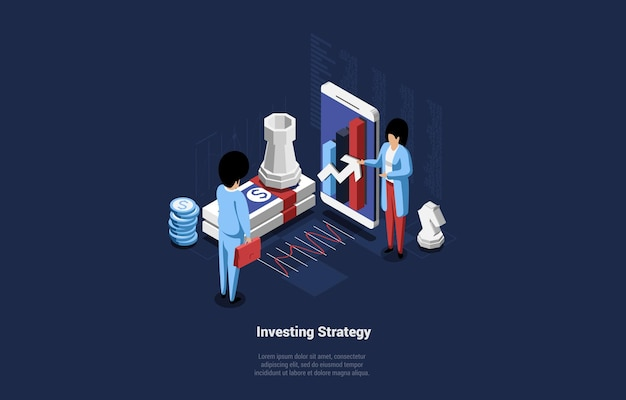 Conceptual composition on investing strategy idea.