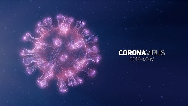 Conceptual coronavirus illustration. 3d virus form on a abstract background. pathogen visualization.