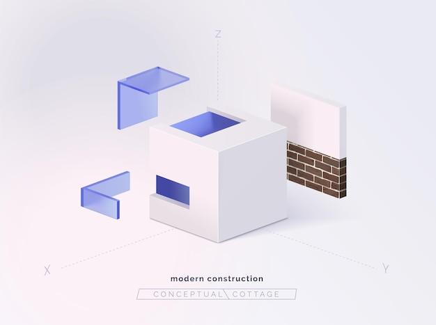層による概念的なコテージ建物の構成部分