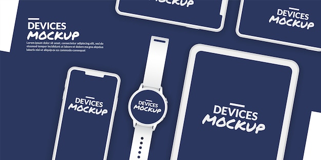 Conceptual devices mockup with blank screen for app development