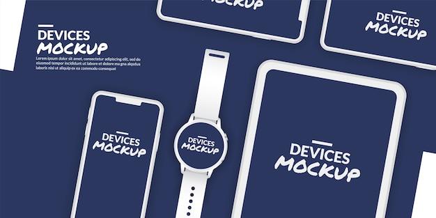 アプリ開発のための空白の画面を持つ概念的なデバイスのモックアップ
