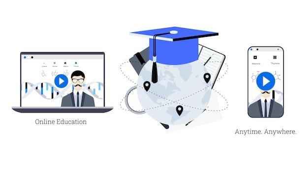 オンライン教育プロジェクトの概念的なeラーニングイラストテンプレート