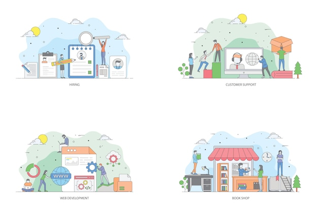 Conceptual flat illustration pack