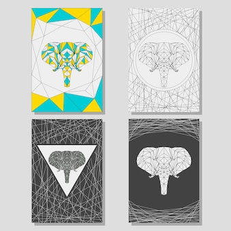 Conceptual graphic set with geometric elephant for use in design for card, poster, banner, placard,  brochures or billboard cover