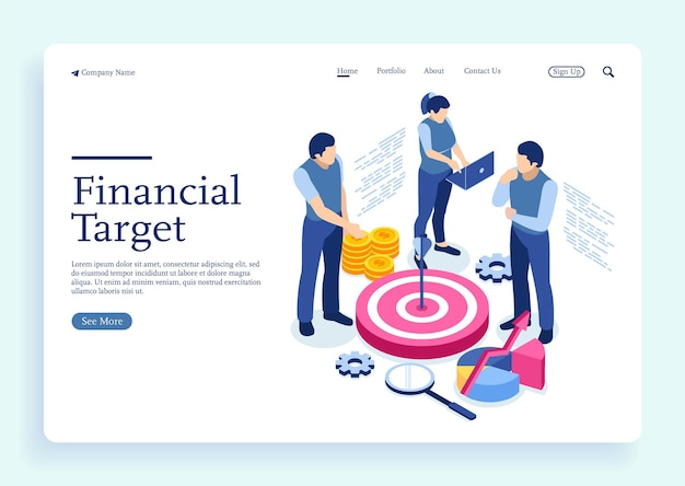 Conceptual illustration of achieving business goal hit the target with characters