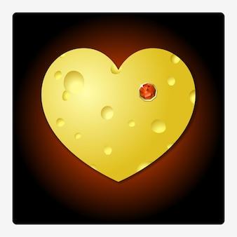 Концептуальная иллюстрация на день святого валентина с сыром в форме сердца