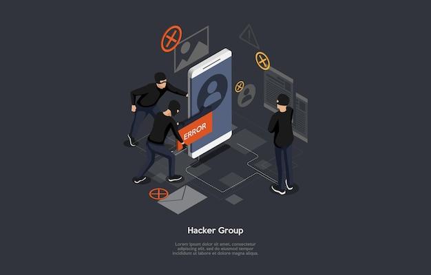 Conceptual illustration of hacker group idea.