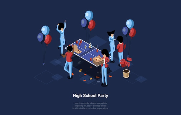 Conceptual illustration, high school party night. group of people celebrating with pizza, balloons and ping pong