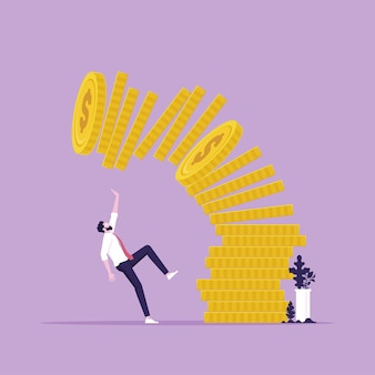 Conceptual illustration of man or businessman under falling pile of coins