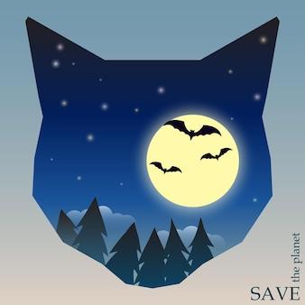 カード、招待状、ポスター、プラカードのデザインに使用する猫の頭のシルエットでコウモリと月と夜の森と自然と動物の保護をテーマにした概念図