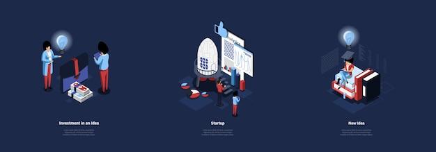 Conceptual illustration set of business ideas