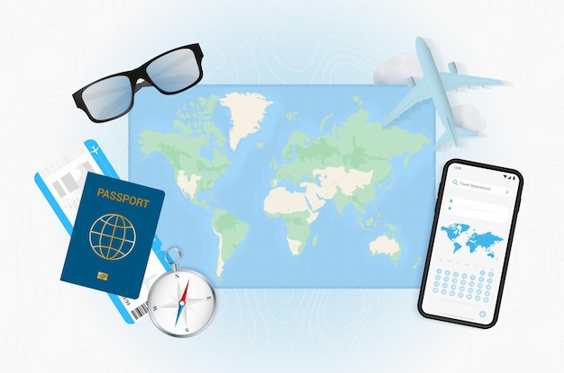 Conceptual illustration of a trip with travel gear. world map with compass, passport, tickets, cell phone, plane and glass.
