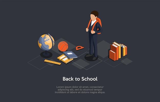 概念図。ベクトル等尺性の構成、漫画の3dスタイル。学校のアイデアに戻る。秋の研究シーズンのデザイン。制服、バックパックを身に着けている男子生徒。周りの教育関連要素