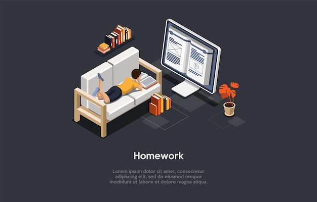 개념적 그림입니다. 벡터 아이소메트릭 구성, 만화 3d 스타일입니다. 숙제 및 교육 아이디어. 집에서 읽는 젊은 학생. 컴퓨터 화면에 큰 책, 소파에 누워 있는 아이, 인포그래픽